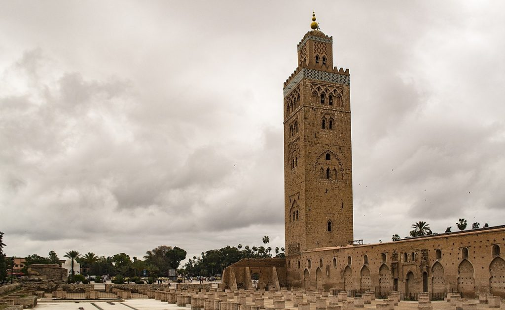 The Kutubiyya Mosque in Marrakesh Morroco was built by the ruling Moorish Dynasty that also controlled Spain